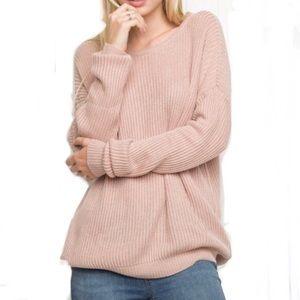 Brandy Melville pink blush boxy sweater